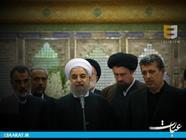 مهدی هاشمی و حسن روحانی در مزار هاشمی رفسنجانی