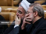 علی لاریجانی و حسن روحانی + عبارت